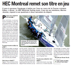 article cote brest Grand Surprise Noé HEC Montréal Avril 2013